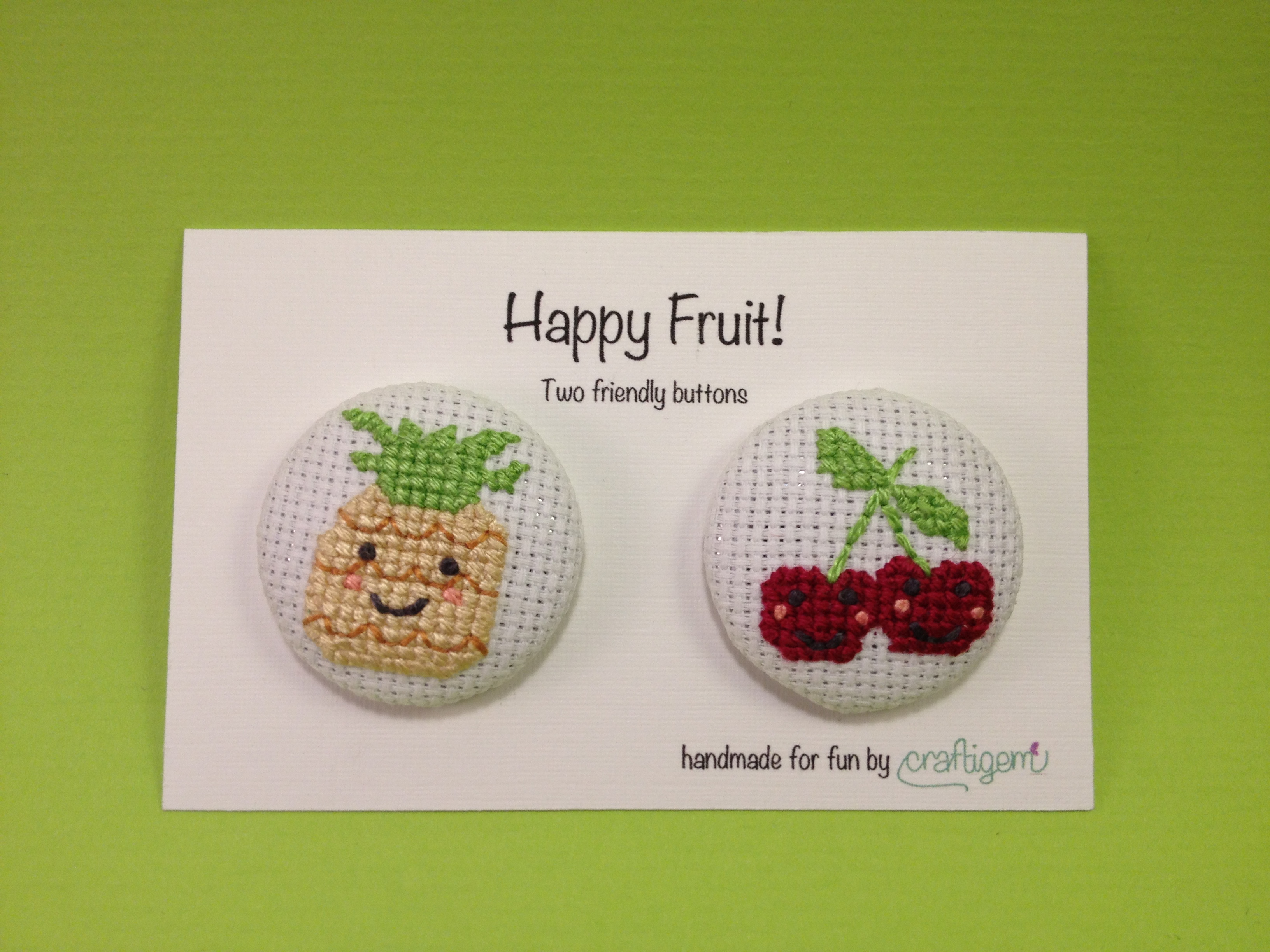 Fruit buttons - pineapple and cherries
