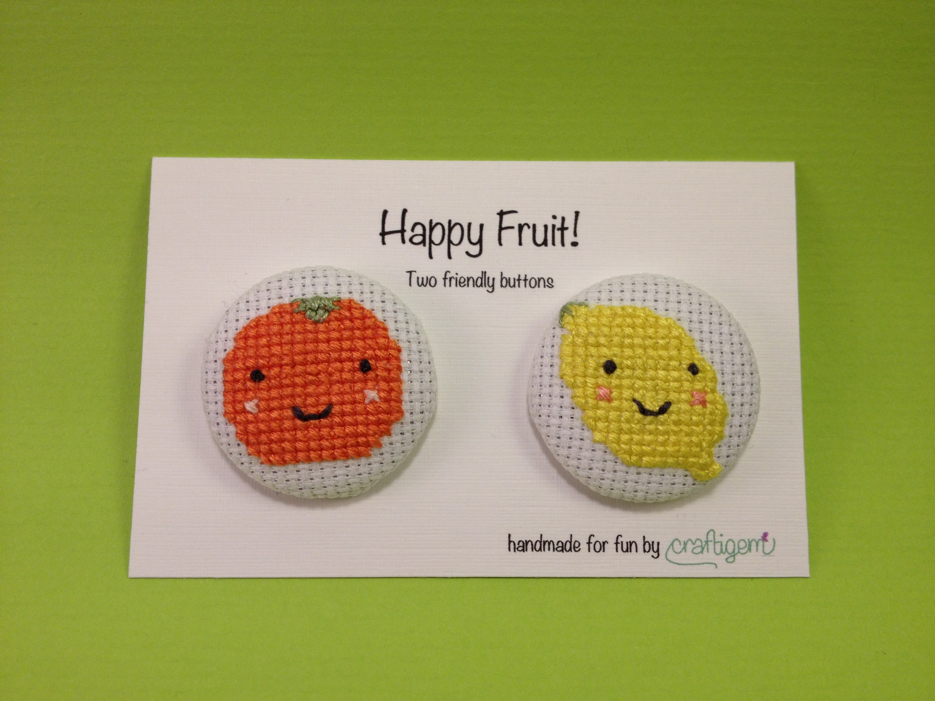 Fruit buttons - orange and lemon